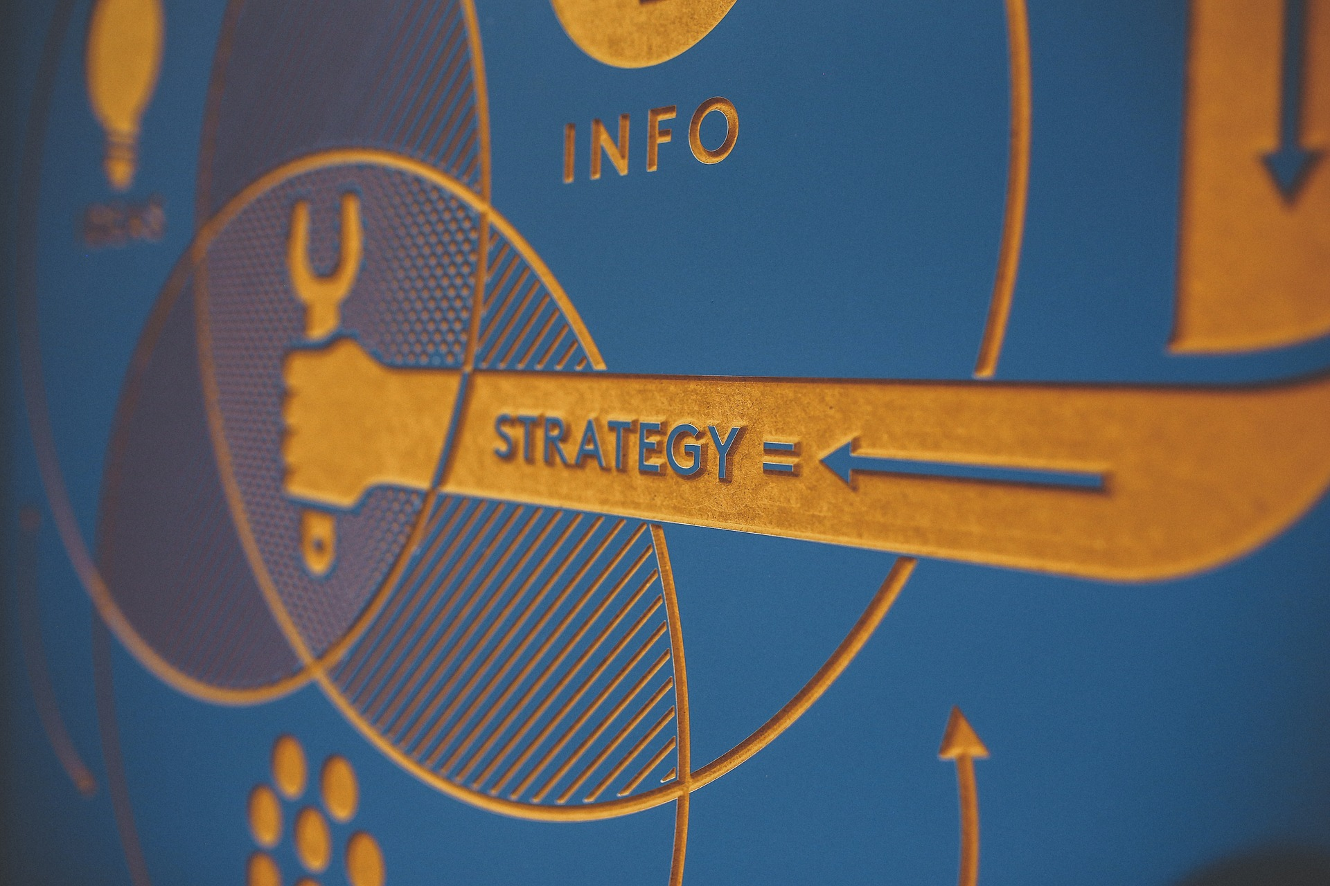 The image shows a hand with text saying Strategy and is carrying a tool in the palm showing that it is in process of creating a Strategy.
